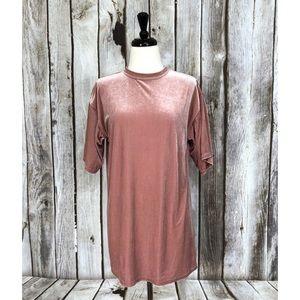 Topshop Pink Short Sleeve Velvet Tunic Top